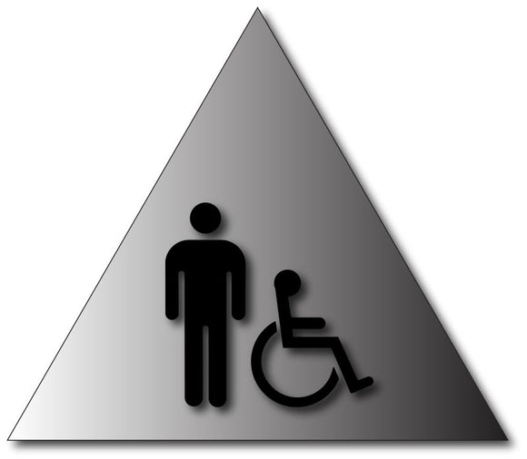 BAL-1006 Mens Wheelchair Accessible Restroom Door Sign in Brushed Aluminum Black