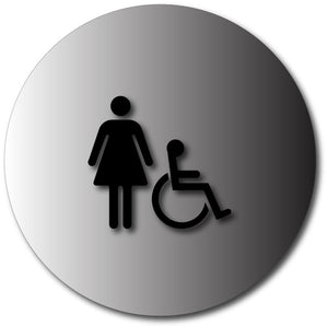 BAL-1007 Womens Restroom Door Sign with Female and Wheelchair Symbols Black