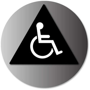 BAL-1008 Unisex Restroom Door Sign with Wheelchair Symbol Black on Brushed Aluminum