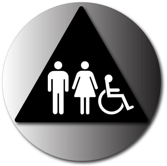 BAL-1009 Unisex Wheelchair Accessible Restroom Door Sign in Brushed Aluminum Black