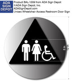 "Unisex Wheelchair Accessible Restroom Door Sign - 12' x 12"" thumbnail"