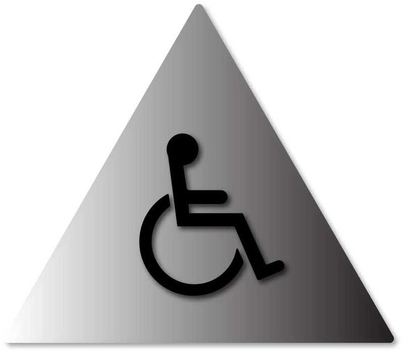 BAL-1010 Mens Restroom Door Sign with Wheelchair Symbol in Brushed Aluminum Black