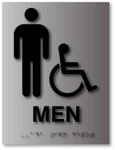 Mens Wheelchair Accessible Bathroom Sign In Brushed Aluminum