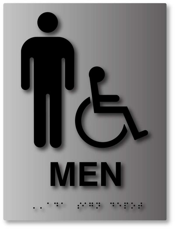 BAL-1012 Men's Wheelchair Accessible Bathroom Sign in Brushed Aluminum - Black