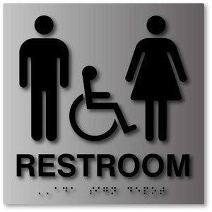 BAL-1014 Brushed Aluminum Unisex Wheelchair Accessible Restroom Sign Black