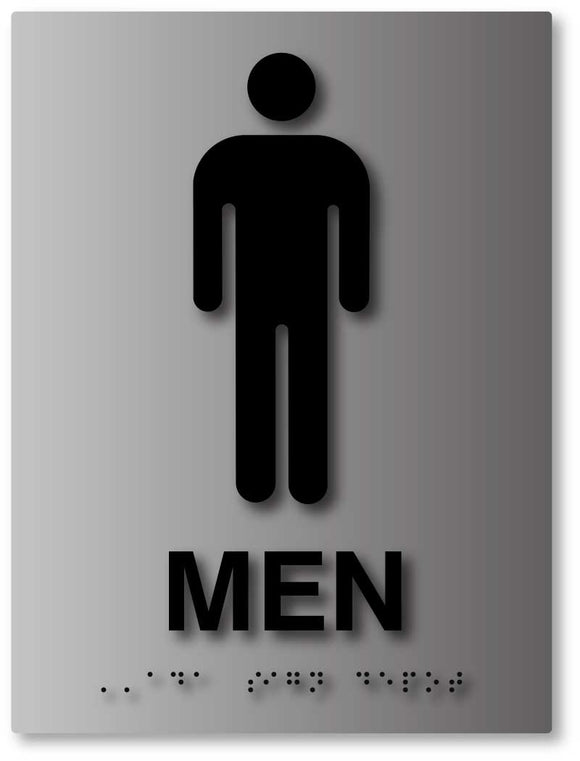 BAL-1016 Mens Bathroom Sign in Brushed Aluminum - Black