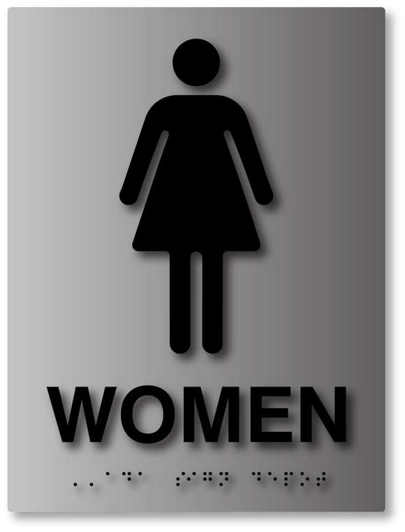 BAL-1017 Womens Bathroom ADA Signs with Gender Symbol in Brushed Aluminum Black