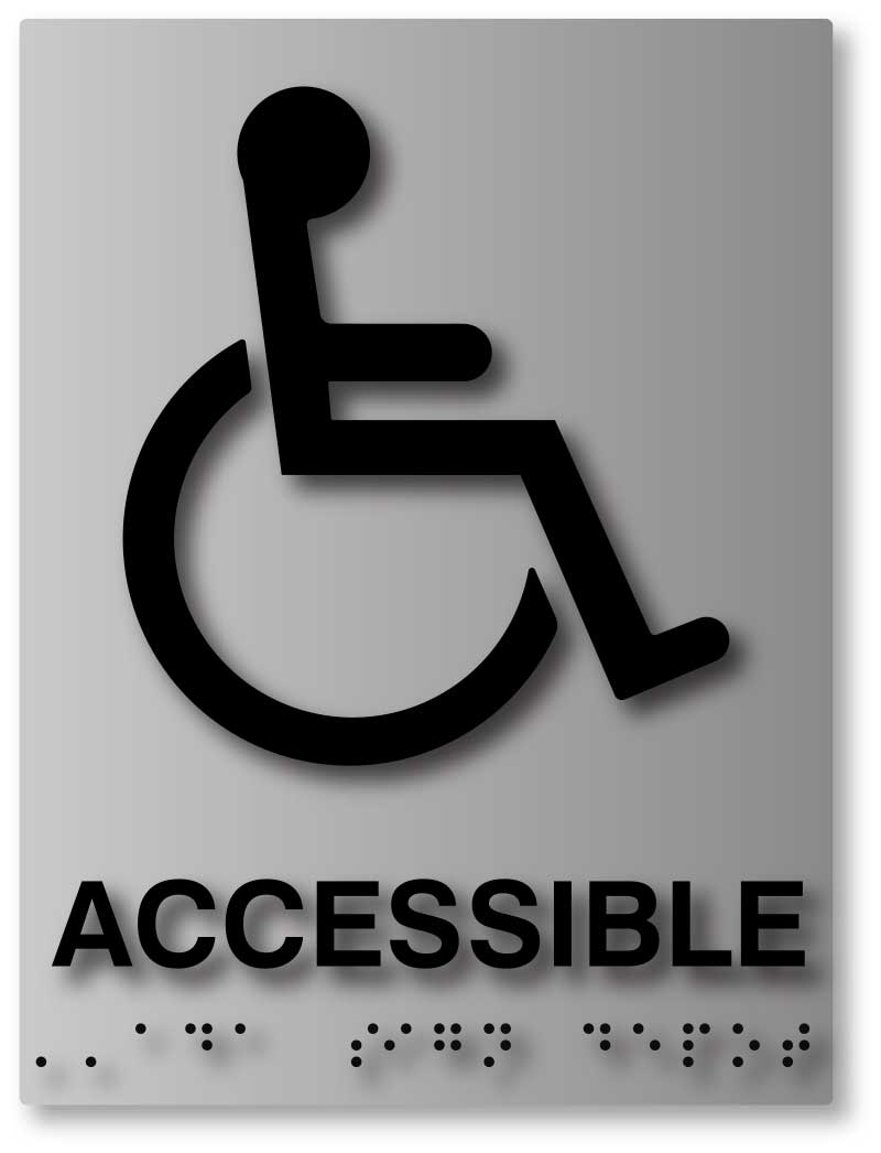 wheelchair symbol accessible ada sign with braille on brushed