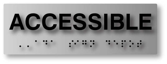 BAL-1019 ADA Compliant Accessible Text and Braille Sign in Brushed Aluminum - Black