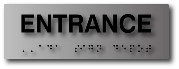 BAL-1020 Entrance Sign with Tactile Letters and Braille in Brushed Aluminum - Black
