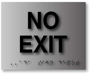 BAL-1022 No Exit Tactile Braille Sign in Brushed Aluminum - Black