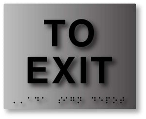 BAL-1023 Brushed Aluminum Tactile Braille To Exit ADA Sign - Black