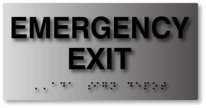 BAL-1024 Emergency Exit Sign with Braille in Brushed Aluminum - Black