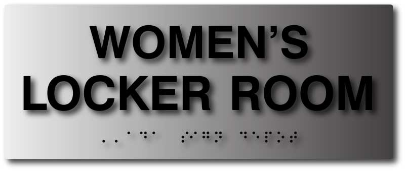 Womens Locker Room Sign With Braille In Brushed Aluminum