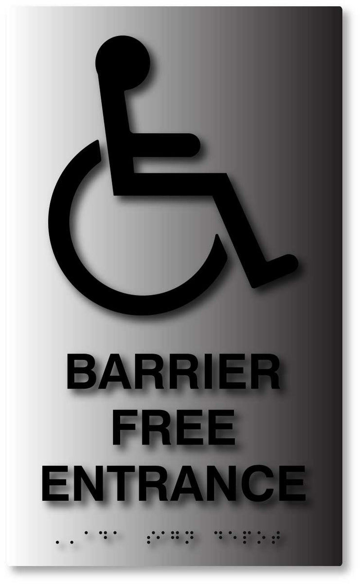 Barrier Free Entrance Ada Signs In Brushed Aluminum Ada