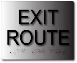 ADA Exit Route Signs in Brushed Aluminum with Tactile Text and Braille