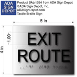 "Brushed Aluminum Exit Route ADA Signs - 5"" x 4"" thumbnail"