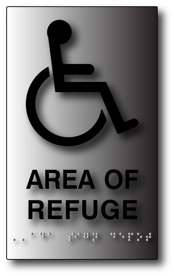 BAL-1037 Brushed Aluminum Area Of Refuge ADA Sign - Black