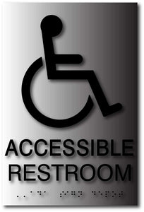 BAL-1038 Wheelchair Symbol Accessible Restroom ADA Sign in Brushed Aluminum Black