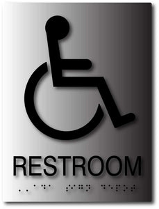 BAL-1039 Brushed Aluminum Wheelchair Accessible Restroom Sign Black