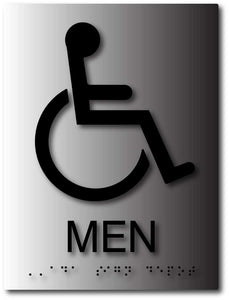 BAL-1040 Mens Bathroom ADA Sign with Wheelchair Symbol - Brushed Aluminum - Black
