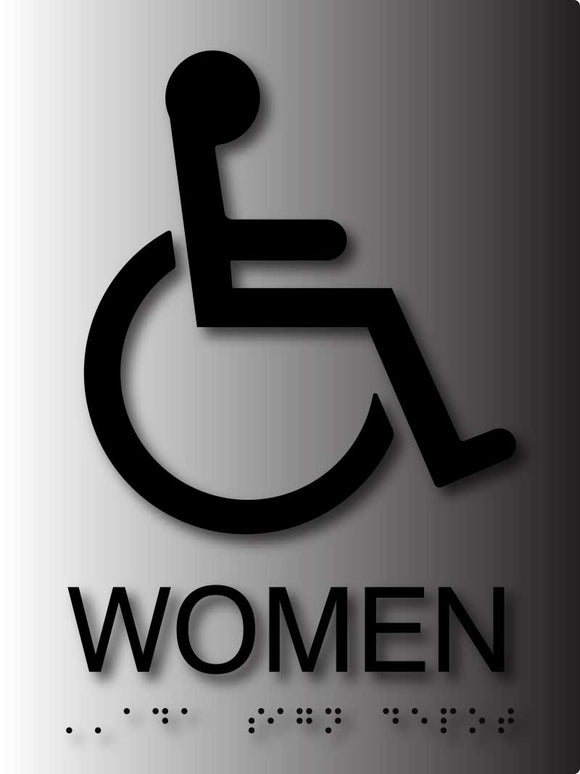 BAL-1041 Wheelchair Accessible Women's Bathroom Sign in Brushed Aluminum Black