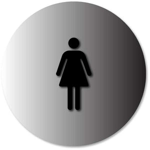 BAL-1042 Women's Restroom Door Circle Sign Black on Brushed Aluminum