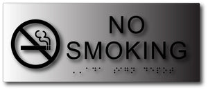 BAL-1049 Brushed Aluminum Tactile Braille No Smoking Sign in Black