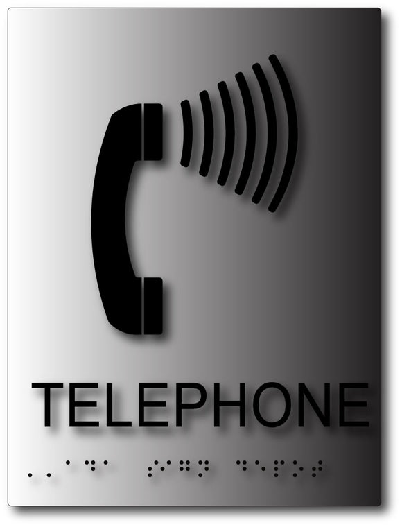 Hearing Assisted Telephone Sign with Braille on Brushed Aluminum