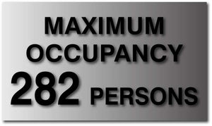 BAL-1051 Maximum Occupancy ADA Signs in Brushed Aluminum - Black
