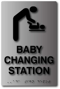 BAL-1052 Baby Changing Tactile Braille Sign in Brushed Aluminum Black