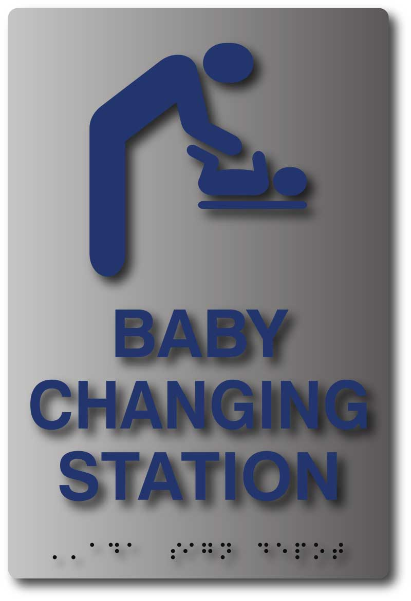 Ada Compliant Baby Changing Sign On Brushed Aluminum Ada