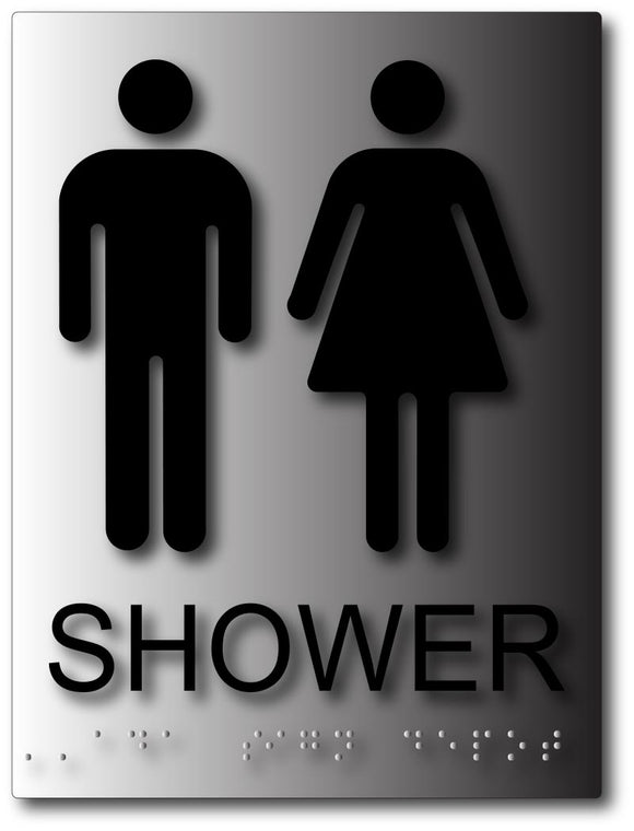 Unisex Shower Sign - Gender Neutral Symbols on Brushed Aluminum
