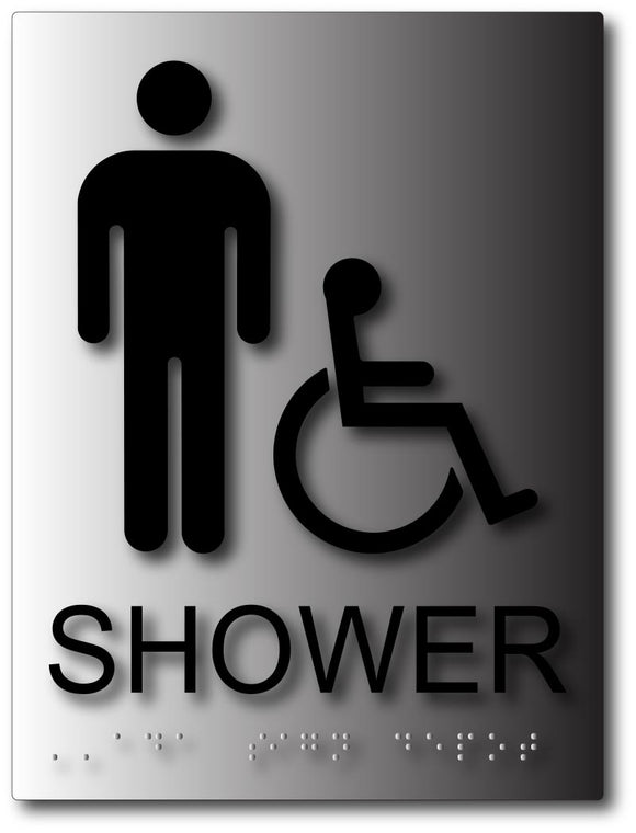 Mens Handicapped Accessible Shower ADA Signs on Brushed Aluminum