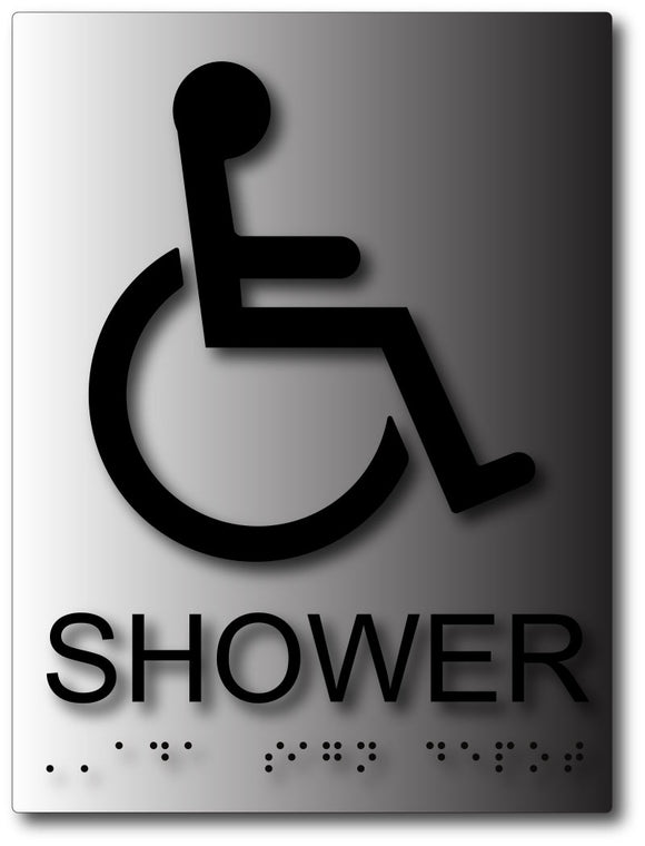 BAL-1060 Wheelchair Accessible Shower ADA Sign - Black