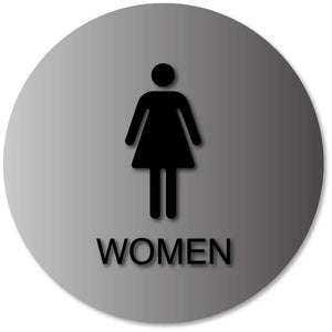 BAL-1064 Womens Bathroom Door Sign - Tactile Female Gender Symbol and Text in Black
