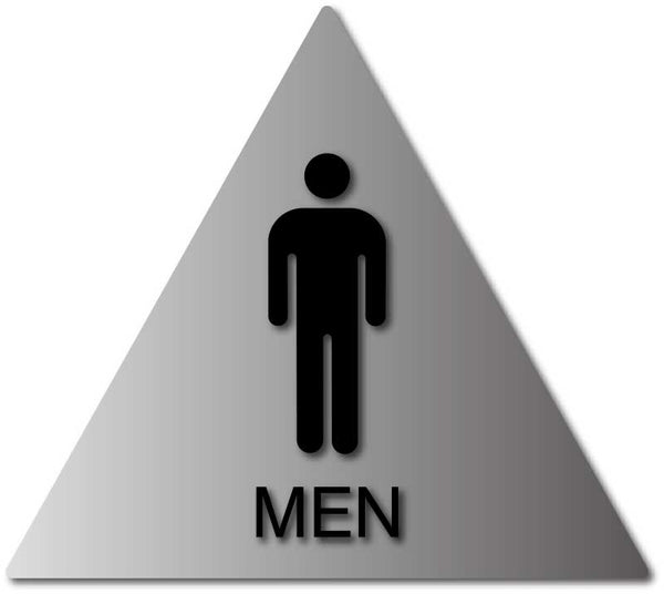 mens bathroom door sign with male symbol and text on brushed rh adasigndepot com Restroom Signs Bathroom Signs and Sayings