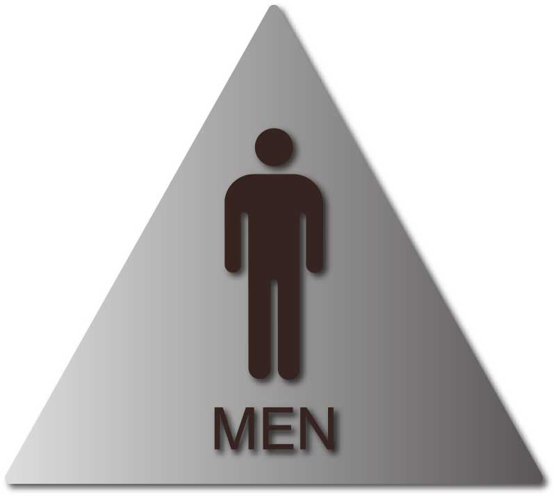 Mens Bathroom Door Sign With Male Symbol And Text On