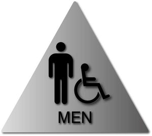 BAL-1067 Men's Wheelchair Accessible Bathroom Door Sign - Black