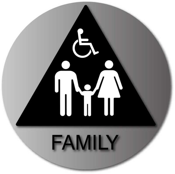 BAL-1070 Family and Wheelchair Accessible Restroom Door Sign in Brushed Aluminum - Black