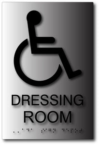 Wheelchair Accessible Dressing Room Sign in Brushed Aluminum