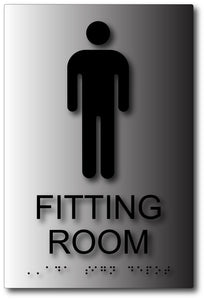 Men's Fitting Room Tactile Braille Sign in Brushed Aluminum