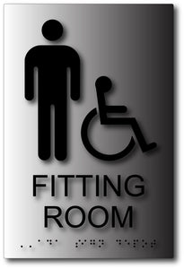 Men's Wheelchair Accessible Fitting Room Sign in Brushed Aluminum