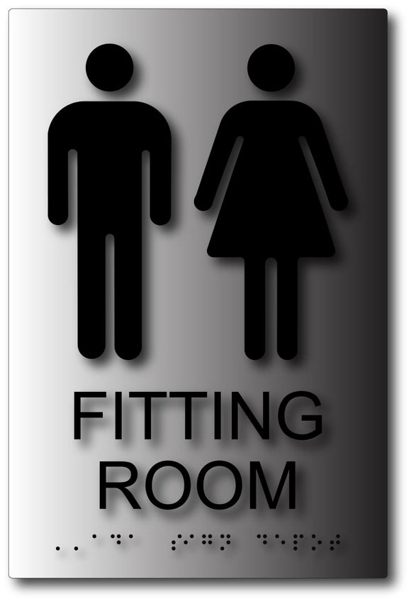 Unisex Fitting Room Sign - Male and Female Symbols - Brushed Aluminum