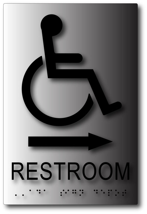 BAL-1085 ADA Wheelchair Accessible Restroom Sign with Direction Arrow Black