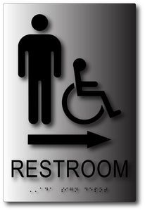 BAL-1086 Men's Wheelchair Accessible Restroom Direction Sign - Black