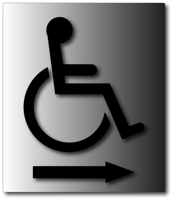 Wheelchair Symbol with Direction Arrow on Brushed Aluminum