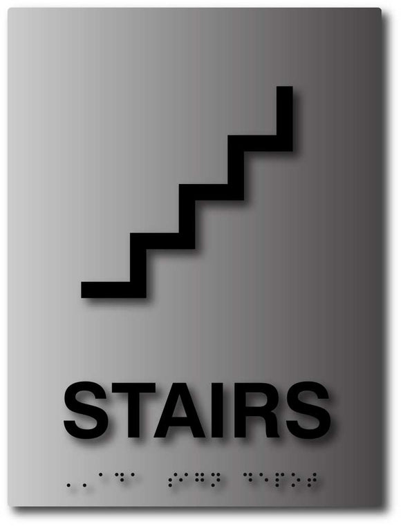 BAL-1090 ADA Compliant Stairs Sign - Tactile Sign with Grade 2 Braille - Black