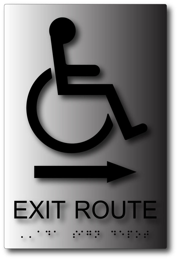 Wheelchair Accessible Exit Route Sign with Arrow on Brushed Aluminum