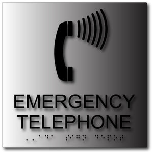 Emergency Telephone Sign in Brushed Aluminum with Braille